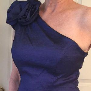Royal blue Cocktail Dress, One Shoulder, Size 12